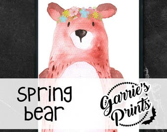 Printable | Spring Watercolor Animal | Bear |
