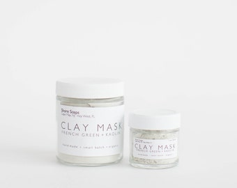 GREEN Clay Mask // French Green Clay + Kaolin // Oily Skin // Nourishing // Rejuvenating // Detoxifying // Spa Mask // Gifts for Her