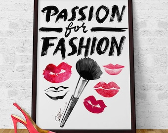 Passion for Fashion Poster Archival Art Print Wall Art Home decor from original illustration Lips painting Lipstick art, handwritten letters