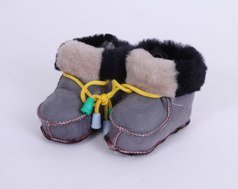 Leather Baby Shoes, Gray Soft Leather Sole Booties, Baby Slippers, Toddler custom shoes, Handmade Newborn boots UK 3 Sheepskin