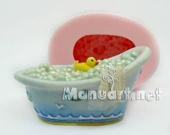 Bubble bath 3D silicone mold, soap mold, candle mold, rubber duck mold, bathing, bath, bathroom, towel, bubbles moulds, wave, washing