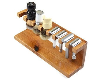 Safety razor  shaving brush stand, custom wood up to 3 slots for razor and up to 3 slots for brushes