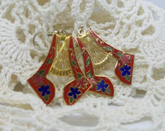 Red and Gold Cloisonne Harp Earrings