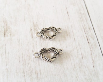 Heart Charms Antiqued Silver Heart Links Silver Heart Charms Connector Charms Link Charms Heart Link Charms 2 Sided 2 Hole Charms 10pcs