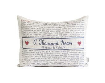 Linen Song lyric Pillow, Romantic Throw Pillow, Gift For Her, Gift For Him, Wedding Gift, 4th Anniversary, Housewarming Gift, Personalized
