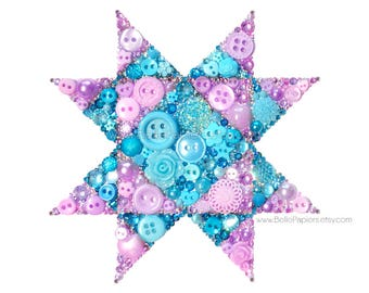 Quilt Block Pattern Button Art Missouri Star Quilt Paper Piecing Art Quilting Art Sewing Room Decor Gifts for Quilters Sewing Decorations