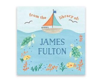 Kid's Bookplate Sticker - Under the Sea Bookplates, Sailboat Bookplate, Ocean Bookplate, Children's Bookplates, Kid's Bookplate Stickers