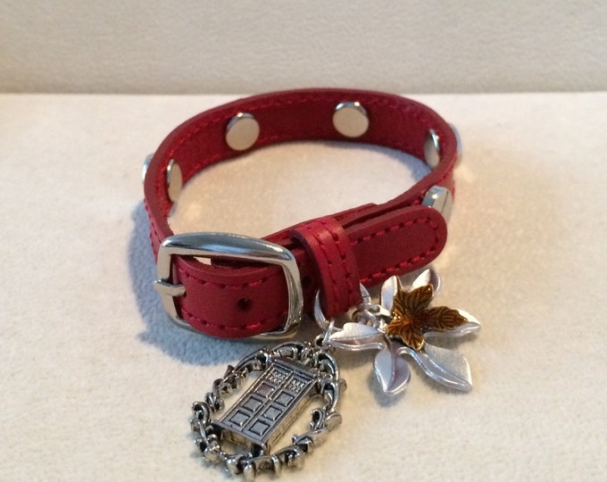 Doctor Who Inspired Red Silver-tone Studded Leather Bracelet Impossible Girl Leaf and Tardis Charm Bracelet