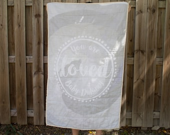 "Baby ""You are LOVED"" Gauze Quilt"