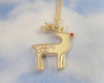 Red Nosed Reindeer gold necklace- pale yellow & white reindeer charm on 14k gold filled chain -Christmas fun