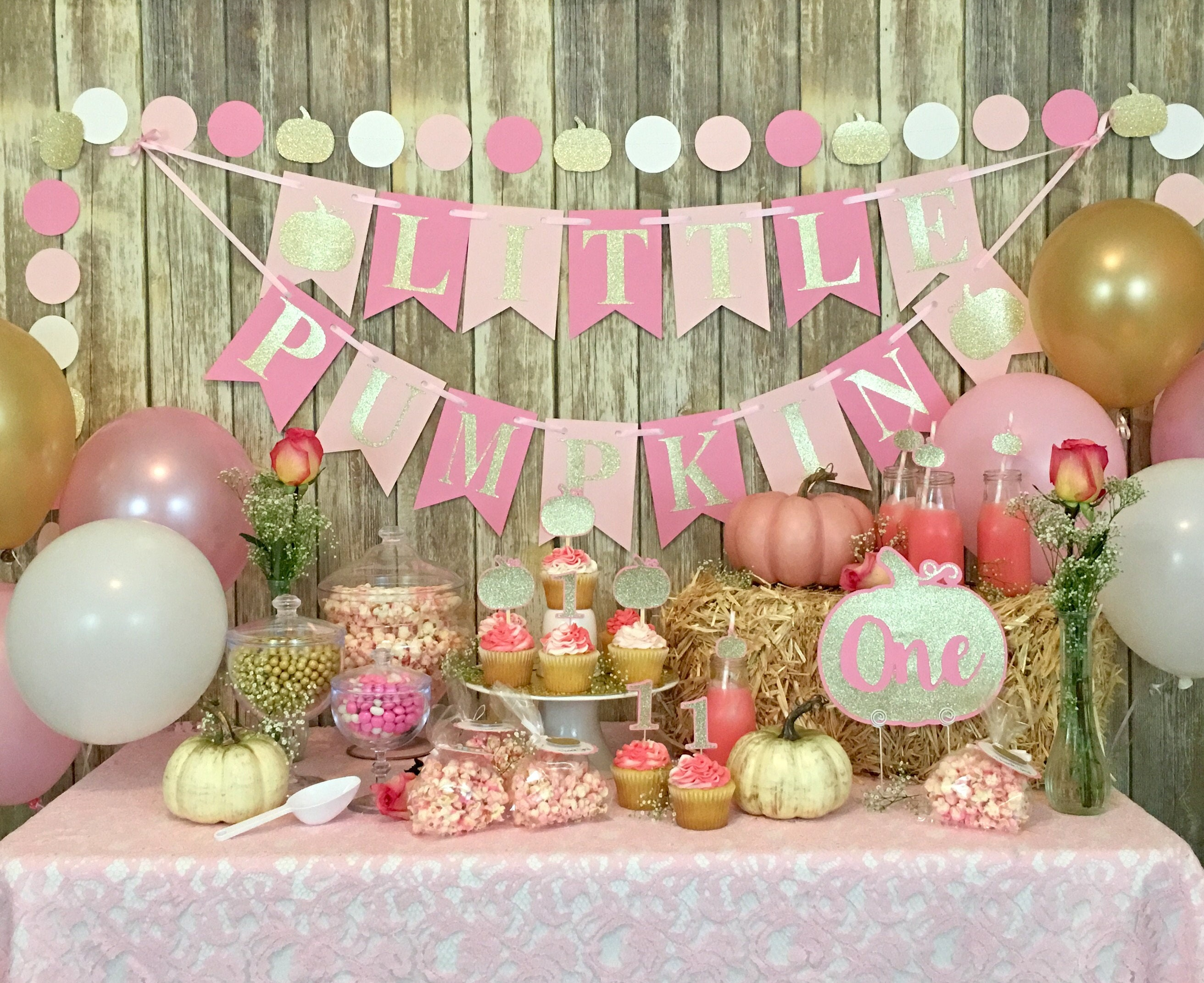 Little pumpkin banner birthday banner first birthday baby for Dekoration fur babyparty