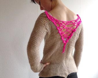 Crochet Sweater, Nude Light Beige Sweater, Neon Pink Freeform Fluorescent Back Insert, Women Knitwear, Boatneck Sweater, Mohair, Size XS - S