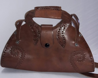 Women's Satchel Chocolate Leather Top Handle Handbag