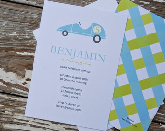 Birthday Party Invitations - race car