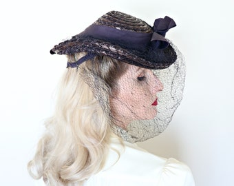 Vintage 1940s Hat / Tilt Hat / New Old Stock / Straw / Navy Blue / Veil