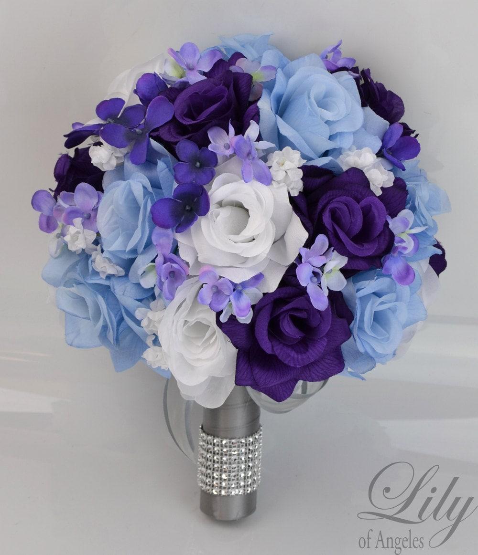 Purple And Black Wedding Ideas: 17 Piece Package Bridal Wedding Bouquets Silk Flowers Bride