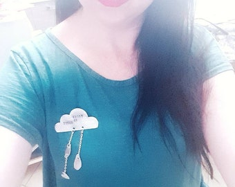 Hand made aluminum cloud brooch heart rain