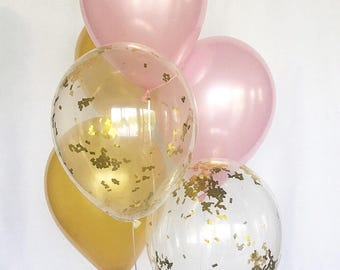 Pink and Gold Confetti Latex Balloons Pink and Gold Party First Birthday Bridal Shower Balloons Baby Shower Pink and Gold Party Supplies
