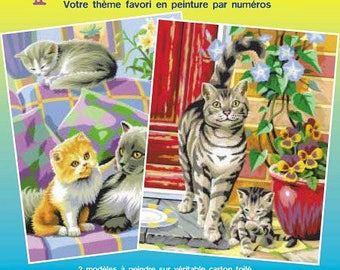"""Lot 2 x paint by numbers """"Mischievous kittens"""" 25 x 30 cm (from 8 years) - Ref PBNJ41023 - until the stock!"""