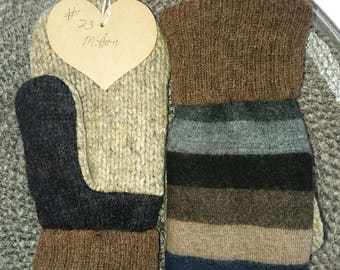 Babydoll Sheep Wool and Recycled Wool Sweater Mittens