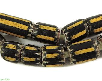 10 Yellow Jacket Chevron Venetian Trade Beads Africa 101639