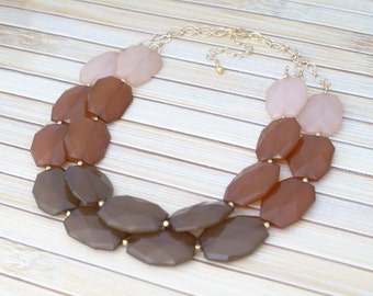 Neutral Jewelry, Brown Necklace, Beaded Necklace, Statement Necklace, Large Stone Gem Necklace, Ombre Multiple Color Gold / Silver Necklace