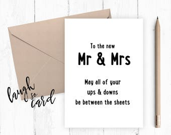 Marriage, engagement, mr and mrs card, congratulations card, congratulations, funny wedding card, wedding cards, between the sheets