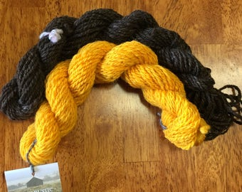 """Hand-Spun 100% Wool Yarns """"Buttercup and Brown"""" Hand-Washed, Carded, Spun, Natural Colored, 2 ply, Knit, Crochet, Weave, Wound FREE 124 yds"""