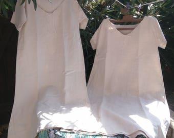 Long Rustic Victorian 1850's Metis Linen Shirt Handmade French Farmhouse Dress Medium Large Primitive Nightgown #4 #SophieLadyDeParis