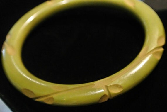 Olive Green Carved Bakelite Bangle