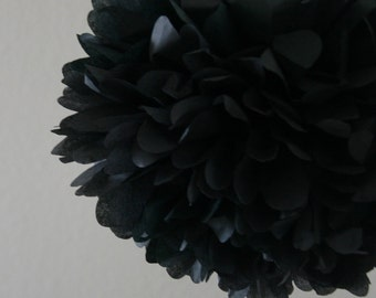 Black .. Tissue Paper Pom / Wedding Decor / Bridal Shower / Birthday / Anniversary / Party Decoration