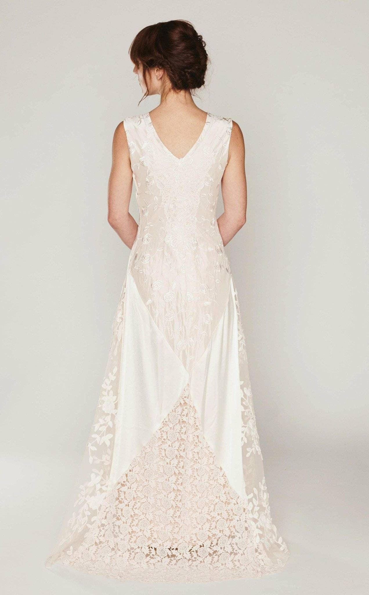 Silk boho wedding dress bias cut bridal gown lace collage zoom ombrellifo Image collections