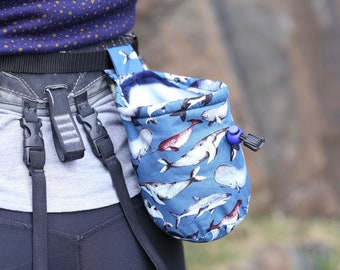 Whales, narwhals, dolphins, sharks chalk bag; climbing, bouldering