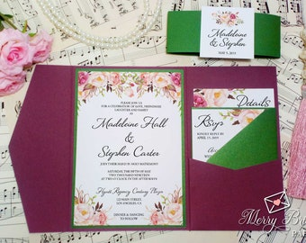 Burgundy and Green Wedding Invitation, Forest Green, Marsala, Calligraphy, Romantic Blooms, Pink Flowers, Rustic Invitation, Pocketfold, C24