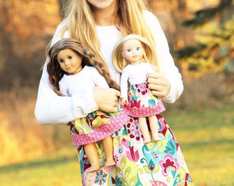 Size 14 SAMPLE SALE - Matching Girl Doll Clothes fits American Girl Doll OR Wellie Wisher - Magenta Bloom Skirts