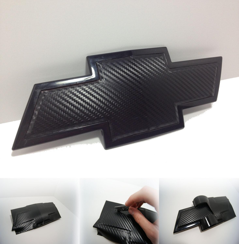 2 carbon fiber chevy bowtie vinyl overlay sheets emblem decal zoom buycottarizona