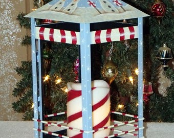 Hand Painted Christmas Snowman and Candy Cane Lantern - Primitve - Folk Art lantern - Home Decor - Holiday Decor - Lantern - Tole Painting