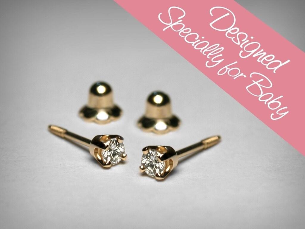 diamond earrings for baby diamond stud baby earrings 14k