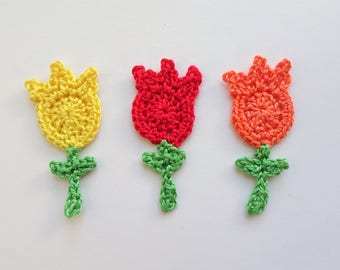 Tulips applique - crochet tulips decor - spring flowers - DIY project applique - crochet flowers - red tulips flowers - set of 3