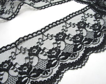 2 Yards 3 1/2 Inches Lace Trim|Black FloralEmbroidered Lace Trim|Bridal Wedding Materials|Clothing Ribbon|Hairband|Accessories DIY