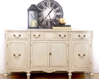 SOLD Vintage Sheraton Revival Dining Buffet Sideboard Hand painted