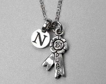 First Place Ribbon Necklace, First place Necklace, Ribbon Necklace, Personalized Jewelry, initial necklace, monogram, initial jewelry