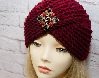 marsala knitted cap turban knit turban marsala turban winter turban marsala turban hat turban turban crossed hat marsala turban marsala knit