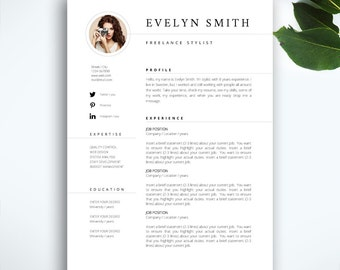"Resume Template 3 page / CV Template + Cover Letter / Instant Download for MS Word / ""Evelyn"""