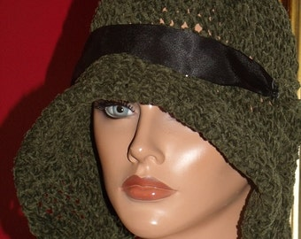 Sage Flapper Hat Cloche  Crochet 1920 Theme Personalized  Headdress