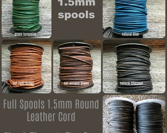 SPOOLS 1.5mm Round Leather Cord, Full Spools, Leather Cord, 1.5mm Leather, Round Leather Cord, Natural Dye Leather, The Classic Bead, 1.5