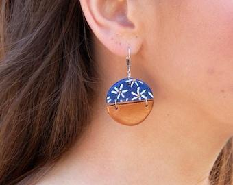 Blue and Gold Dangle Flower Earrings