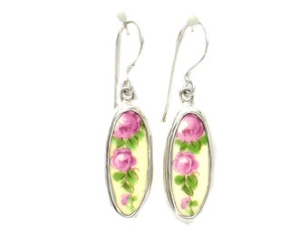 Broken China Jewelry Vintage Pink Roses Sterling Tall Oval Earrings