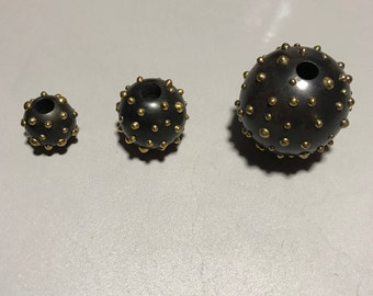 Gold Plated Brass Studded Rosewood Ball Beads