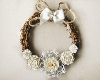 Rustic Wedding Wreath- Rustic Wreath,  Natural Grapevine Wreath, Shabby chic, Cottage Chic Wreath, Home decor wreath, Wedding Decoration